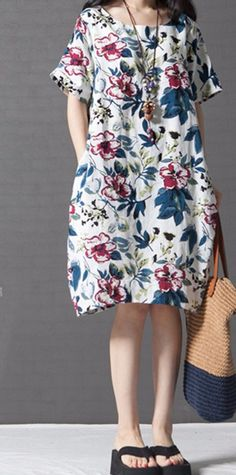 Women loose fit plus size cotton linen dress vintage flower pocket skirt casual #Unbranded #dress #Casual