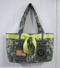 Military Uniform Tote tutorial directions instructions bag purse tote out of military jacket (ACU)
