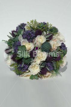 Stunning Scottish Bridal Bouquet with Roses, Thistles & Foliage Stunning Scottish Bridal Bouquet with Roses, Thistles & Foliage [Agnes - Bride] - £74.99 : Silk Blooms UK