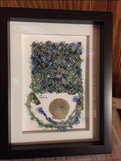 Small framed Alpha Omega series weaving with seashell. #foleyartcenter #celiadionne