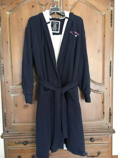 eceffc4121 Men L.L. Bean Navy Heavy Cotton Blend Fleece Lined Hooded Belted Bathrobe M   fashion