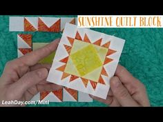 Learn how to piece a Sunshine Mini Quilt Block in this patchwork tutorial with Leah Day. Watch a detailed video on how to piece this 3 inch quilt block. Flag Quilt, Star Quilts, Quilt Blocks, Patchwork Tutorial, Miniature Quilts, Quilting Tutorials, Sunshine, Miniatures, Watch