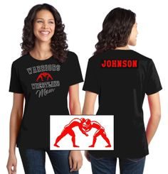 """YOUR TEAM Wrestling Mom Front & Back with Rhinestones and  """"Vibrancy """" Color - includes Name on the Back. on Etsy, $16.95"""