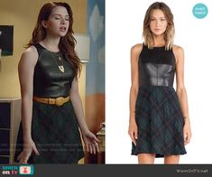 Karma's leather and plaid dress on Faking It.  Outfit Details: http://wornontv.net/52103/ #FakingIt