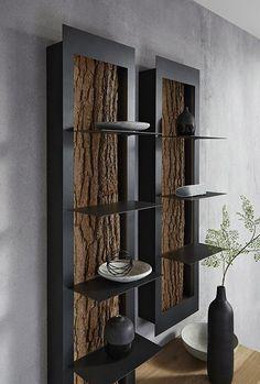 Puristisches Design kombiniert mit echter Baumrinde lassen dieses  einzigartige und charmante Wohnprogramm zum wahren Eyecatcher werden.  Trotz des rauen Charakters der Linie sorgt die Natürlichkeit der Möbel  für eine angenehm ruhige Wohnatmosphäre. | #natur #möbel #interior  #design #holz #thiex Modern Industrial Furniture, Metal Furniture, Cool Furniture, Resin Table Top, Woodworking Organization, Bedroom Bed Design, Living Room Decor, Wall Decor, Shelves