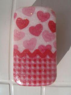 Jabón decorado con servilleta decoupage