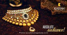 Gold Kundan Choker Necklace From Kalyan Jewellers