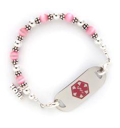 Balis With Pink Fiber Optic Medical ID Bracelet...Love those pink tiger eyes.