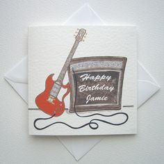 Rock on....This is a printed card taken from one of my own drawings to celebrate a Birthday.This card can be personalised with the name of your choice, plus the colour of guitar can be changed.When ordering please let me know the name that you would like plus colour of guitar if different from the photos ( 1 colour maximum ).Each card is printed onto white hammer textured card and touches of gold and silver are added after the printed process.The card measures 14.5 cm by 14.5 cm square.The…