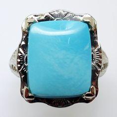 14k gold Filigree Art Deco 4.35ct  Turquoise Ring. Dates between 1910-1930.