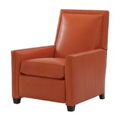 """Randall Leather Recliner, Sunset/Black Dimension:32""""w x 40""""h x 37""""d Item# 737915 HGTV1. A stately silhouette, deep seating, and track arms make Randall an instant contemporary classic. Upholstered in warm, fire-orange leather, it partners with our Cheshire Leather Sleeper Sectional in the same color and takes the loft-like space from rote-rustic to ravishing. By Ethan Allen."""