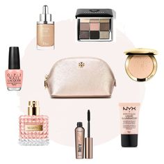 """""""My dream make up bag"""" by verifashionstyle ❤ liked on Polyvore featuring beauty, Tory Burch, Christian Dior, Bobbi Brown Cosmetics, Benefit and OPI"""