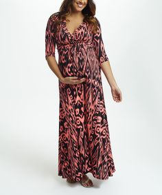 This PinkBlush Neon Pink & Navy Abstract Drape Maxi Dress by PinkBlush Maternity is perfect! #zulilyfinds