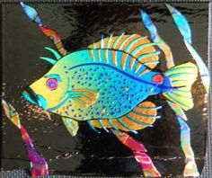 smallfish fused glass panel    cheryl kumiski