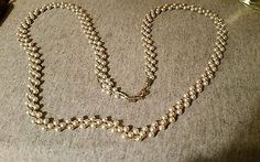 """VTG NECKLACE FAUX PEARLS GOLD TONE CHAIN ENTWINED 30"""" LONG"""