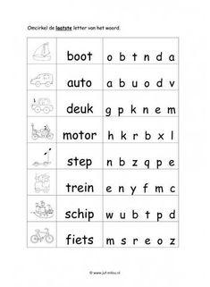 Werkblad verkeer - Eindletter moeilijk Toddler Activities, Kids Learning, Words, Pdf, Image, Languages, Horse, Toddler Crafts
