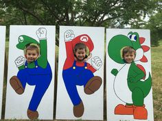 Super Mario Bros face cutout photo props for Mario themed birthday party decoration! So fun!