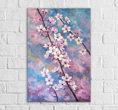 Pink cherry blossom painting Vertical canvas art Flowering cherry tree branch Original wall artwork Oil flowers for mom Mothers day gift by ColorPictureStakhiv on Etsy