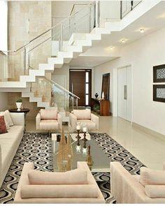 Ideas for home living room decor staircases Dream Home Design, Modern House Design, Home Interior Design, Interior Ideas, Living Room Goals, Home Living Room, Living Room Stairs, Home Deco, House Stairs