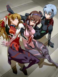Mari, Asuka and Rei (Rebuild of Evangelion)