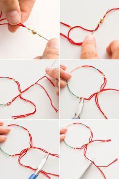 2 Modern Takes on DIY Beaded Bracelets - Remember back in 1985 when friendship bracelets were really a status symbol? How many friends do yo - Diy Beaded Bracelets, Embroidery Bracelets, Bracelet Crafts, Silver Bracelets, Handmade Bracelets, Jewelry Crafts, Beaded Jewelry, Handmade Jewelry, Colorful Bracelets