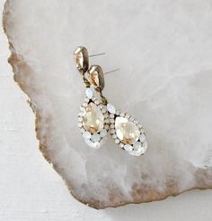 Antique gold Swarovski crystal teardrop Bridal earrings - JULIA – Treasures by Agnes