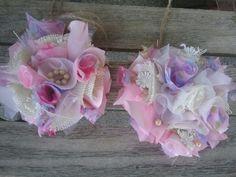 Shabby pink  Chic Curtain Drapery Tie-Backs set handmade tattered New burlap #Handmade #Shabbycottagechic