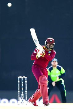 Chris Gayle batted circumspectly to score 38 before falling to George Dockrell in Pool B 5th match between Ireland and West Indies on 16/02/2015
