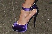 Jennifer Lopez' purple satin strappy heels