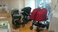 Double twins double inline highchairs changers opp coombe, wed to sat Double Twin, Inline, Baths, Baby Strollers, Twins, Gemini, Baby Prams, Prams, Twin
