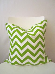 18 inch throw pillow cover Chevron chartreuse by CushionCutDecor, $13.95