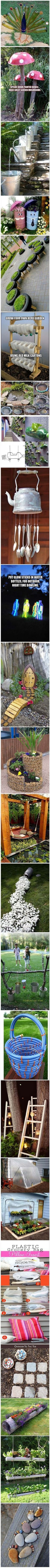 Garden Decor -- a lot of the stuff is recycled, making these crafts even more awesome!