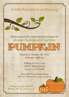 pumpkin baby shower invitations, baby  shower invitation with pumpkins, Digital, Printable file (any colors)