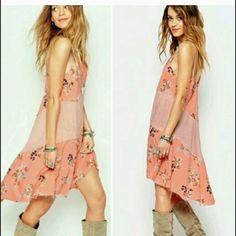 RePosh - NWT Free People slip dress. Beautiful colors and design. Mint, peach, purple. I love it, just not on me! Free People Dresses Asymmetrical