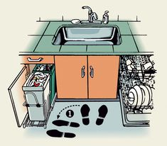 Incorporate an easy, rollout base cabinet to access and stow waste and recycling bins in your kitchen.