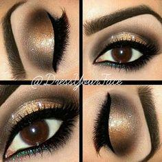 Step by step eyeshadow makeup tutorial. Perfect makeup for Holiday!  | http://makeuptutorials.com/13-best-eyeshadow-tutorials-brown-eyes/