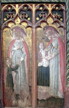 Section of Rood screen, Houghton St Giles. Girls on the north side, chaps on the south.
