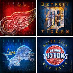 """4-team Detroit ultimate collection to display your Red Wings, Tigers, Lions and Pistons 12""""x12"""" $76"""