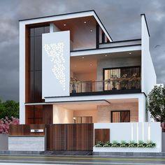 House Plans Mansion, Duplex House Plans, Small House Plans, Bungalow House Design, House Front Design, Modern House Design, Beautiful Modern Homes, Beautiful Home Designs, Front Elevation Designs