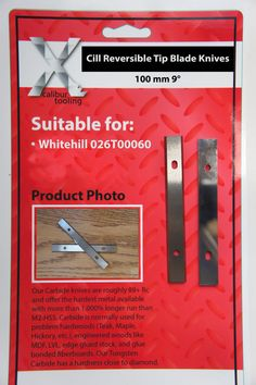Reversible Tip #Blade #Knives 100mm 9 degree Cill to suit #Whitehill 026T00060