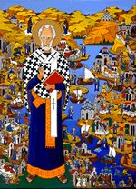 Interactive: The Life and Miracles of Saint Nicholas    Painting by Alexander Boguslawski    This fantastic story painting shows thirty-one vignettes drawn from Saint Nicholas' story. These episodes are found in Russian iconography and the Golden Legend by Jacobus de Voragine. Requires free Adobe Flash Player