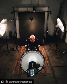 Behind the scenes by @aaronandersonphoto :  A little #bts action from our shoot with @sarahbeard10x! I decided it would be a good idea to do 4 super complicated lighting set ups in a few hours  stay tuned for he results next week!! Huge thank you to @third_space_coffee for letting us borrow their sweet chair!! . . . @savannah4812 @elinchrom_ltd @gravitybackdrops @iso1200magazine @flash_mates #lighting #elinchrom #behindthescenes #studio #itscomplicated #create #collaborate #inspire…