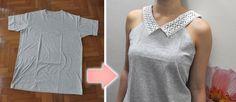 Camiseta remodelada com gola de renda