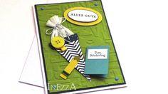 Karte zur Einschulung Schulanfang blau grün von INEZZA  -  Geschenkestübchen auf DaWanda.com