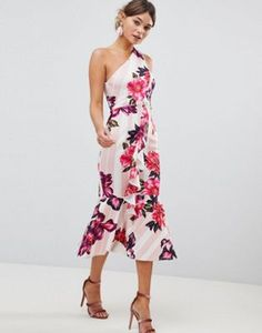 97c20e14b4de7 ASOS DESIGN one shoulder midi dress with floral and stripe print Seersucker  Pants, Printed Bridesmaid