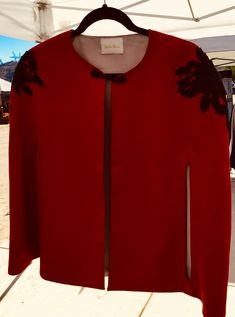 Womens Cape in Red - Womens Wraps - Red Wool Cape - Womens Red Wool Cape - Cloak and Capes - Cape with Appliqués - Women's Fashions - Gift by TheShoponBenAve on Etsy Stylish Clothes For Women, Casual Tops For Women, Black Frog, Streetwear Jackets, Wool Cape, Capes For Women, Fashion Outfits, Womens Fashion, Blazer Fashion