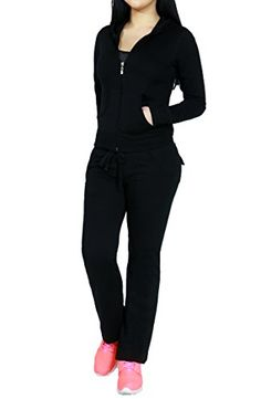 bead99f33c52 Women Active Athletic Lounge 2 Piece Set Sweatpant and Zip Up Hoodie Jacket  -- You can find out more details at the link of the image.