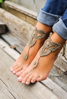 Huge deal on crochet tan barefoot sandals, nude shoes, foot jewelry Beige Sandals, Bare Foot Sandals, Wedding Party Shirts, Party Wedding, Wedding Beach, Footless Sandals, Crochet Barefoot Sandals, Bridesmaid Shoes, Bridesmaids