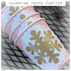 Winter ONEderland/Wonderland Birthday Party Cups. Snowflake decor. Fully assembled and customizable. Girl/pink/gold by CharmingTouchParties on Etsy