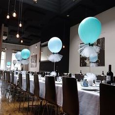 Mint and baby blue bow tie tulle balloons #littleman #tulleballoons… More